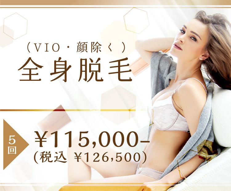1日2名限定 全身脱毛5回 ¥115,000